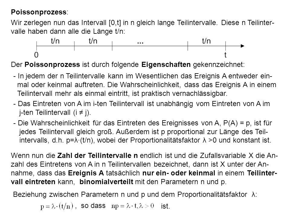 Poissonprozess: Wir zerlegen nun das Intervall [0,t] in n gleich lange Teilintervalle. Diese n Teilinter- valle haben dann alle die Länge t/n: